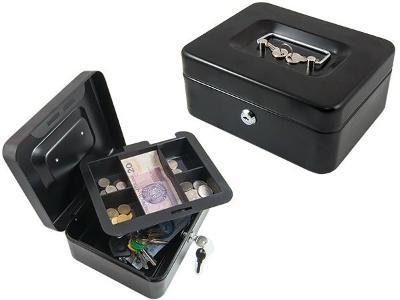 Pokladna trezor pro peníze nebo dokumenty černá Příruční + dárek