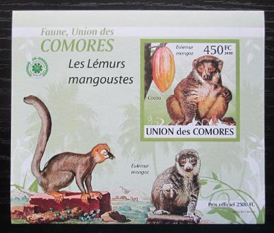 Komory 2009 Lemur DELUXE neperf. Mi# 2464 B Block 1904
