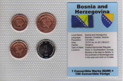BOSNA A HERCEGOVINA: kompletní sada 4 mincí 1998-2000 UNC v blistru