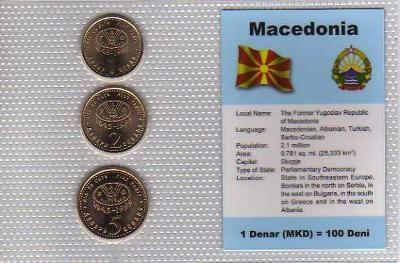 MAKEDONIE: kompletní sada 3 mincí 1995 UNC v blistru