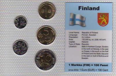 FINSKO: kompletní sada 5 mincí 1991-2000 UNC v blistru