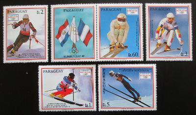 Paraguay 1990 ZOH Albertville s kupónem Mi# 4471-75 Kat 8€ 1040
