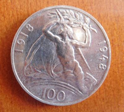 Stříbrná 100 Kč - 1948