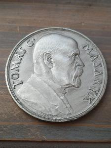stireborná medaile TGM k 85. narozeninám 60 mm R 79.1 g lesklá