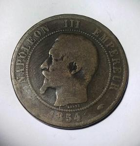 Napoleon III  1854  Dix centimes