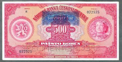 500 korun 1929 serie E SLOVENSKÝ ŠTÁT perf. stav 1+