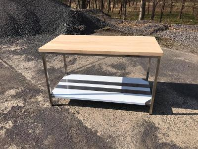 Nerezové stoly s dřevěnou deskou a policí 100x70x85cm