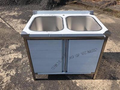 Nerezový dvojdřez se skříňkou 120x70x85cm
