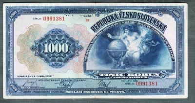 1000 korun 1932 serie B !!! perf. pěkný stav