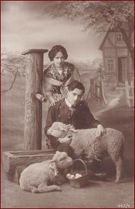 Žena * muž, ovečka, gratulační, atelier foto, Velikonoce * M4488