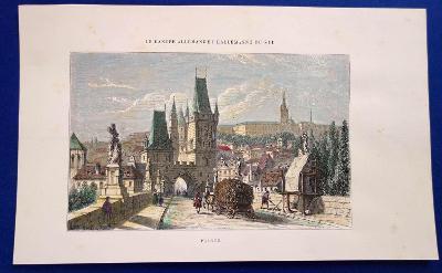 3x ocelorytina, Praha, Karlův most a okolí, cca 1850