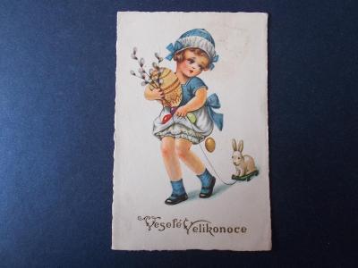 Veselé velikonoce dívka kraslice zajíc