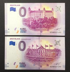2 x 0 EURO SOUVENIR bankovka BRATISLAVA 2019 - STEJNÁ ČÍSLA !