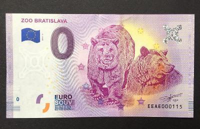 0 EURO SOUVENIR bankovka ZOO BRATISLAVA - NÍZKÉ ČÍSLO 115 !