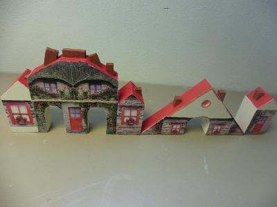 Sada  5 dřevěných domečků - dekorace
