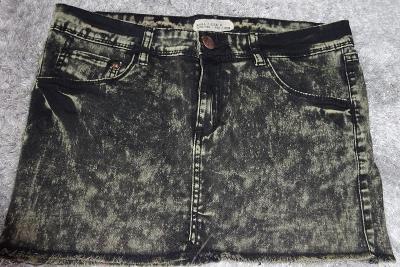 Denim džínová/riflová sukně černohnědá L/M Elastická PerfektStav