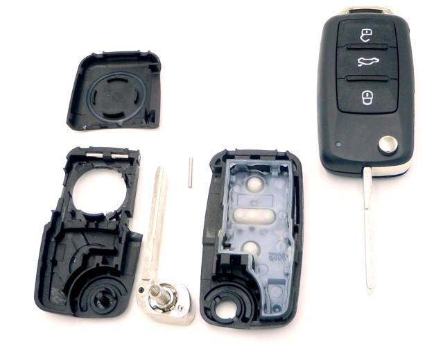 KLÍČ  Volkswagen, škoda, seat, 3  tlačítka používaný od roku 2007   - Náhradní díly a příslušenství pro osobní vozidla