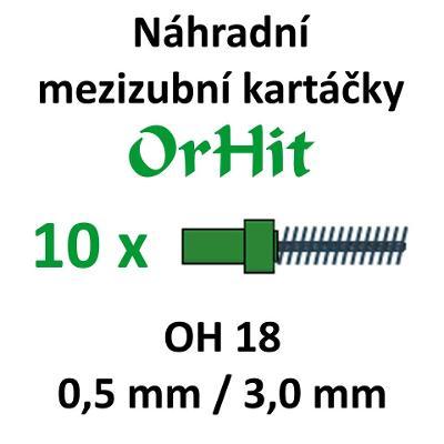 Náhradní mezizubní kartáčky OrHit, 10 kusů, OH18 zelené