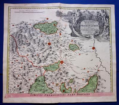 Mapa Moravy, Přerovský kraj – sever 1720, Homann