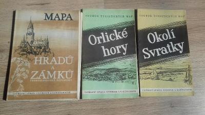 Tři turistické mapy ČSR 1958
